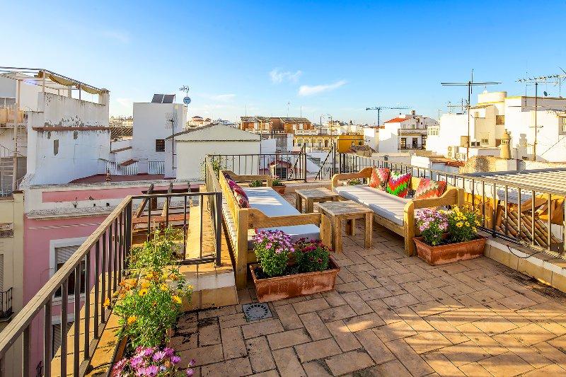 Terrasse sur le toit. La maison dispose de 2 terrasses privées.