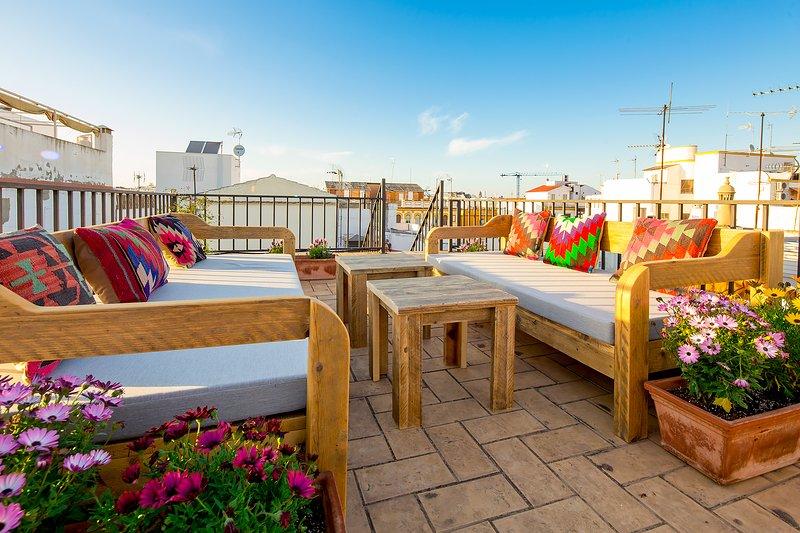 Terrasse sur le toit avec des canapés de salon et de plantes.