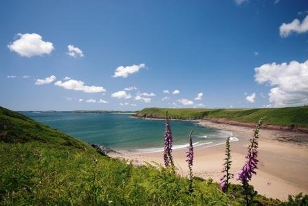 Beautiful Manorbier Beach from the coast path.  Off-road walk for only 1 to 2 minutes. from cottage