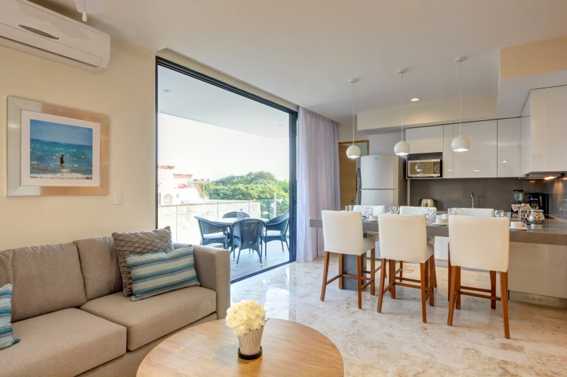 307S Open living room and kitchen with wide opening door to the large balcony