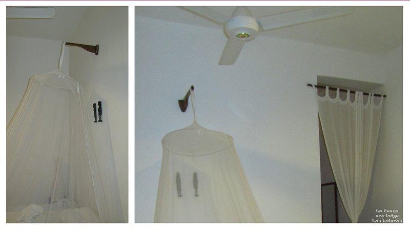 Detalhe no Quarto 1 e Quarto 2 - ventiladores de teto e mosquiteiros