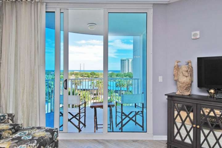 balcony with views of the pool and Gulf of Mexico