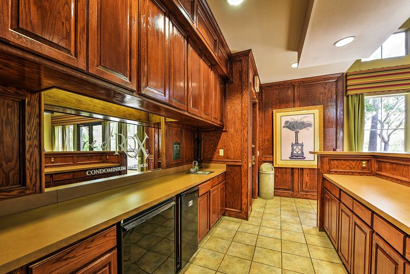 This full kitchen in the clubhouse offers guests an additional cooking space.