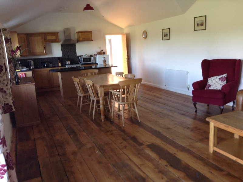 Lovely large area for  cooking, entertaining and relaxing with wonderful views across grazing land
