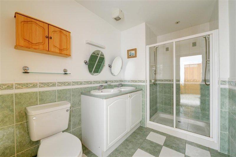 This en suite has double vanity unit, wc and double shower cubicle