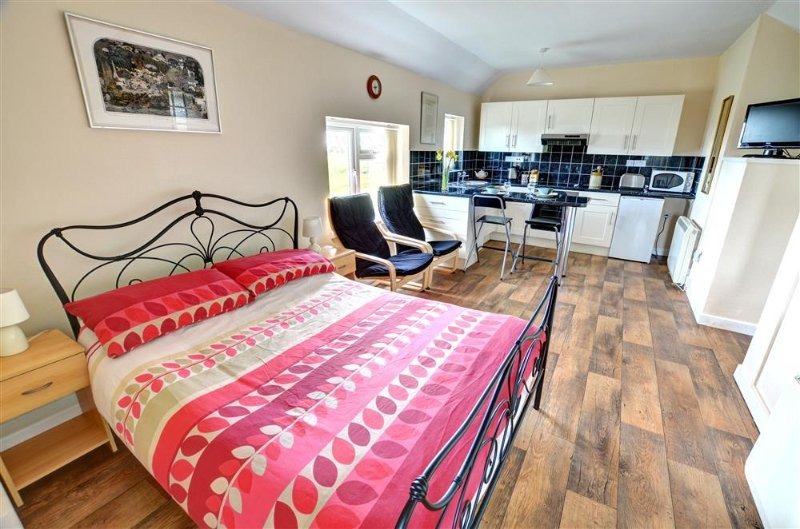 The studio cottage has a light, spacious open plan bed/sitting room with a kitchen area at the far end