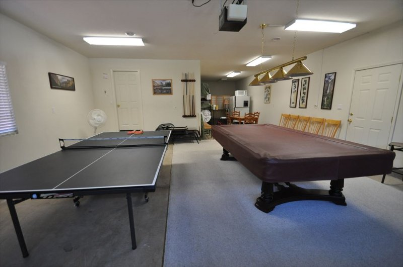 Gameroom in the garage, Unit 13 Lot 142 Pine Mountain Lake vacation rental Star Of The Mountain.