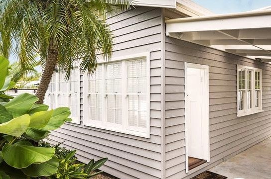 Our weatherboard exterior.