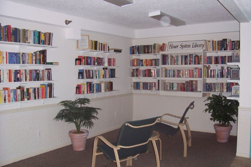 Community room with lending library