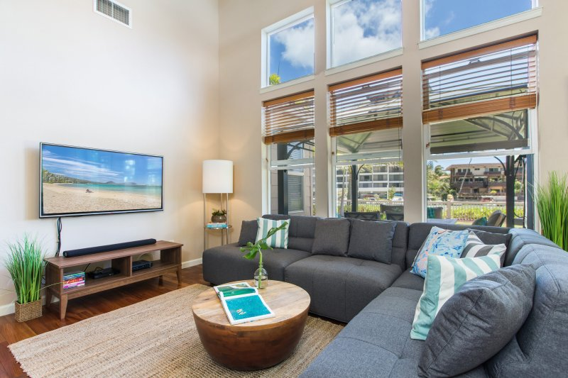Kick back and relax at Ohana Kai where you have a large, family size couch, beautiful wood flooring, full AC and of course WIFI.