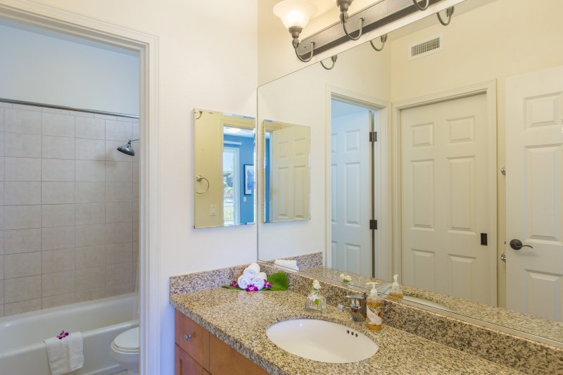Master ensuite bathroom with walk in closet to the left.