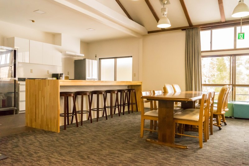 Kitchen and dining area with seating for 14 people