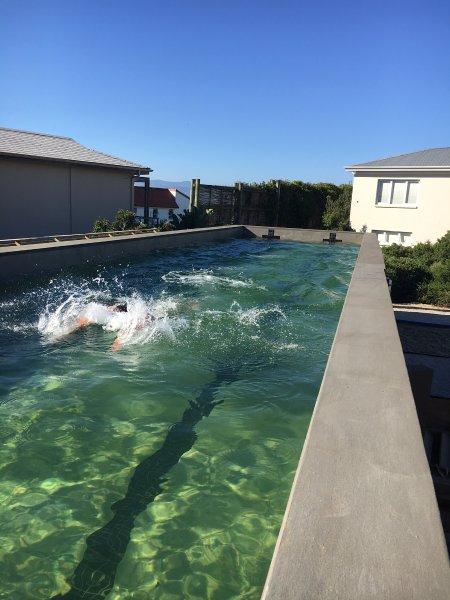 25 meter pool on site. Ntural filter. No chemicals