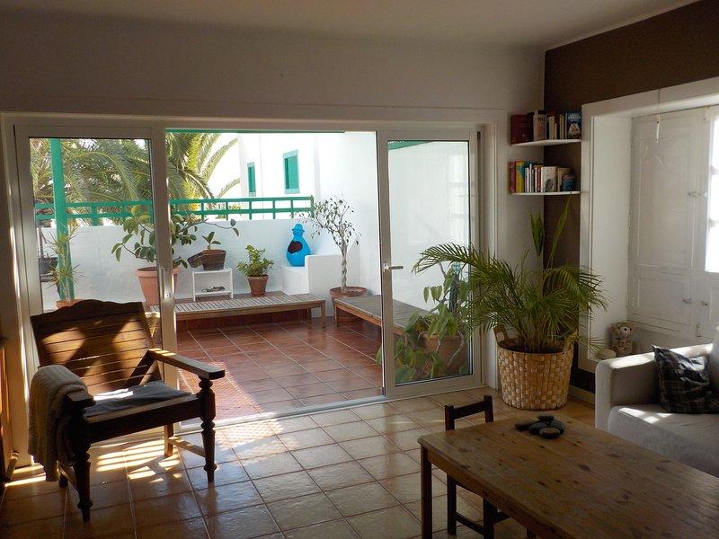 Una parte del salón dentro de casa con vista a la terraza. 4 puertas correderas para separar ambos.
