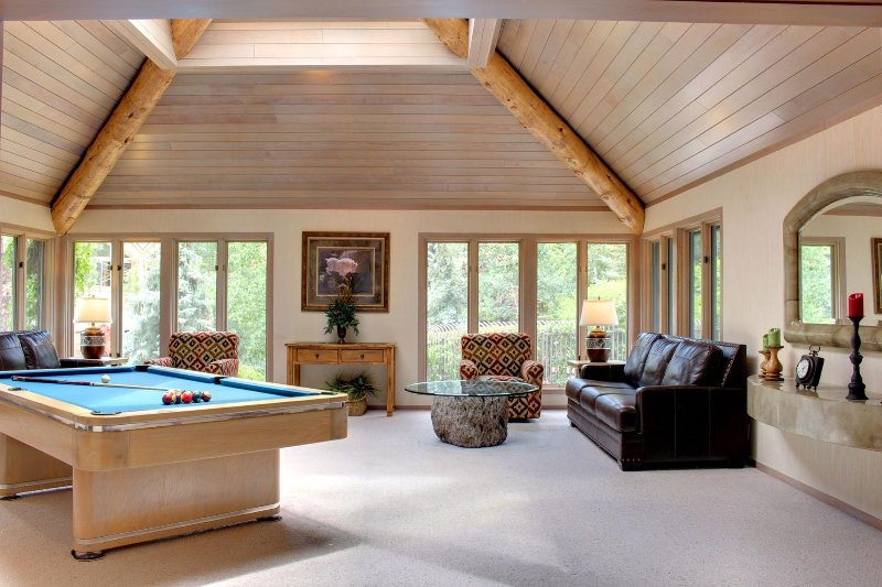 Pool table room has ample seating