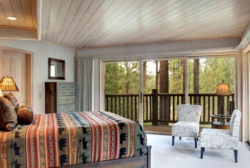 Bedroom 2 with Queen, Private Bath and Private Decks with Views of Forest