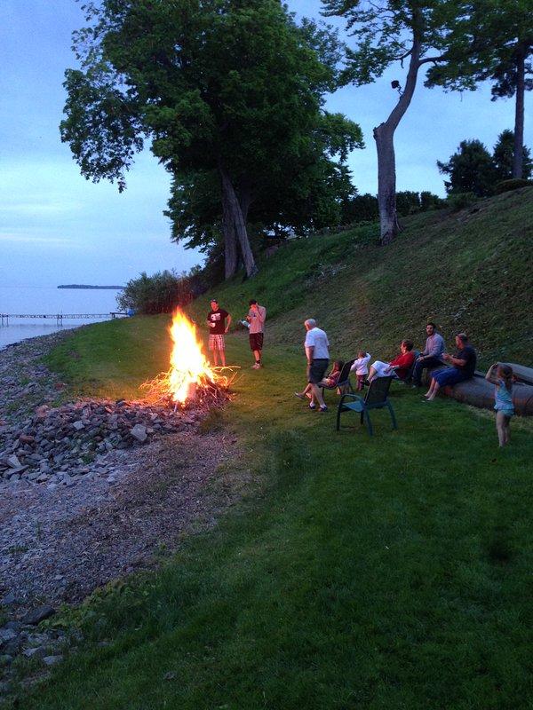 Bonfire pit by the lake.