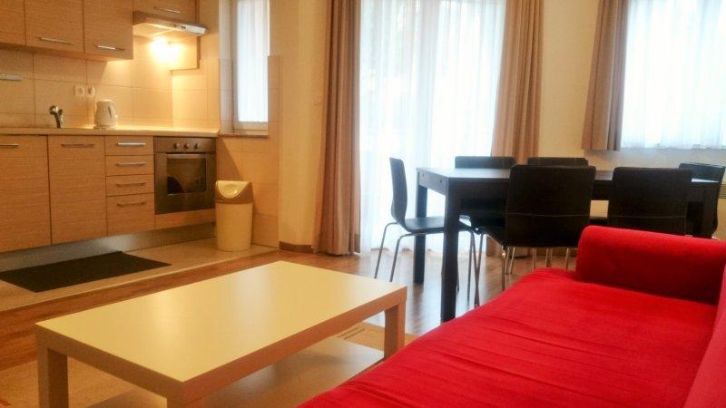 Sala com sofá, cozinha e mesa de jantar
