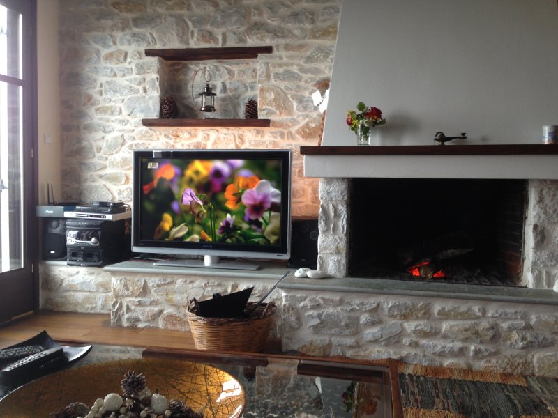 In-house fireplace with traditional stone-built walls and Flat TV