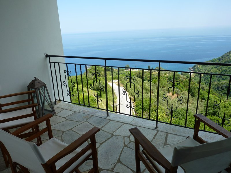 View to Aegean sea and Mountain Athos right from the upper balcony (rooms level)