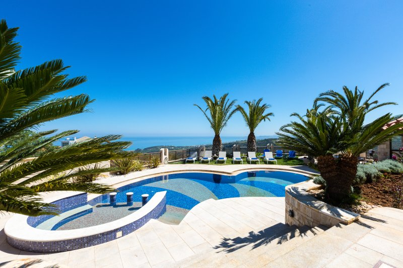 Pool area surrounded by palm trees offers magnificent sea & mountain views