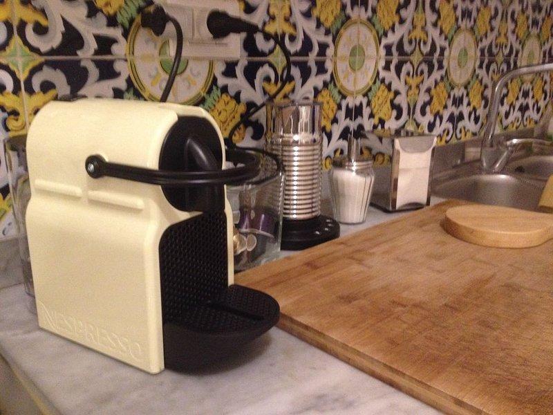 La cucina è perfettamente corredata: Stoviglie, Macchina Nespresso+Aeroccino, Bollitore, ecc