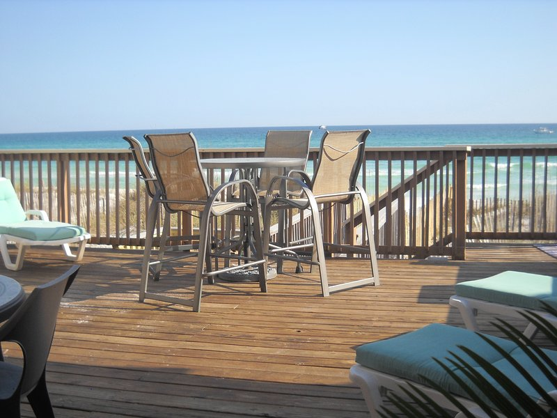 View from main deck. Steps from the water at Crystal Beach, in Destin