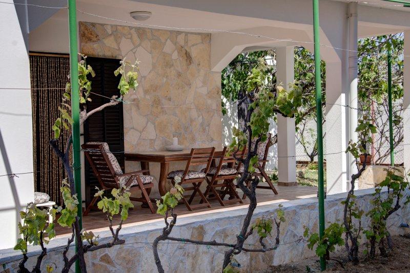 Terrace (37 m2) with vineyard pergola.
