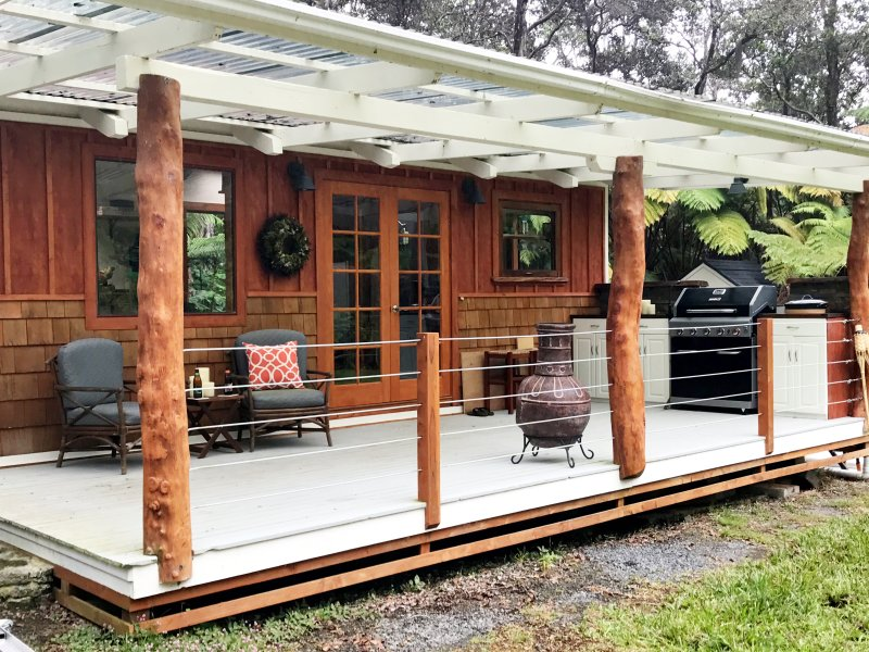 A tiny house deserves a tiny lanai - outdoor living at its best.