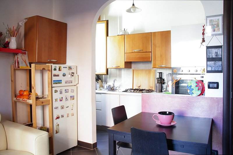 The living room with kitchenette.