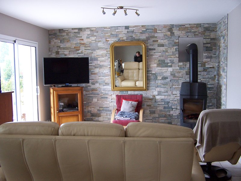 Sala com TV e fogão a lenha