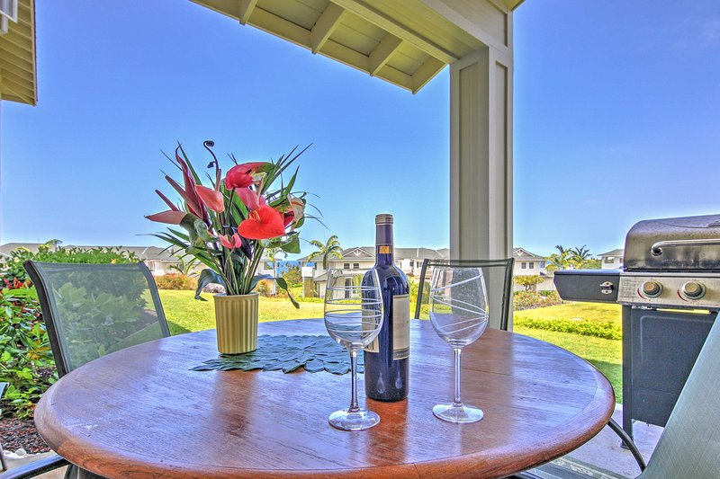Look forward to spending mornings and evenings lounging outside on the covered patio while sipping a cup of coffee, a cool beverage or a delicious glass of wine.
