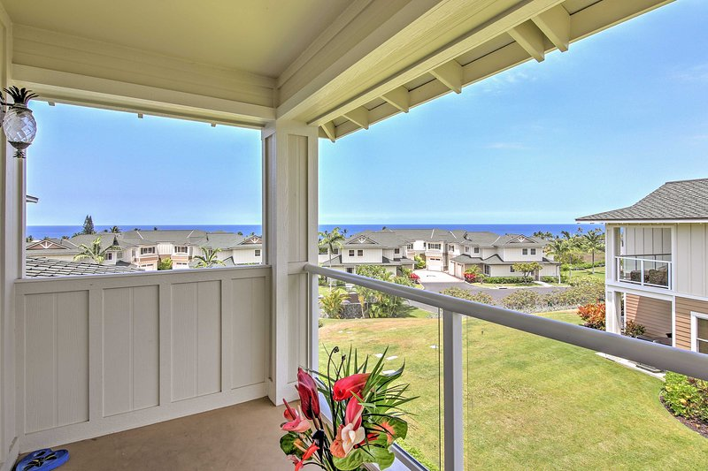 Enjoy views of the community and ocean from the master bedroom balcony.