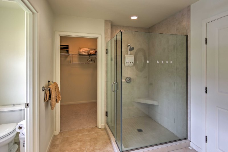 Rinse off in the walk-in shower.