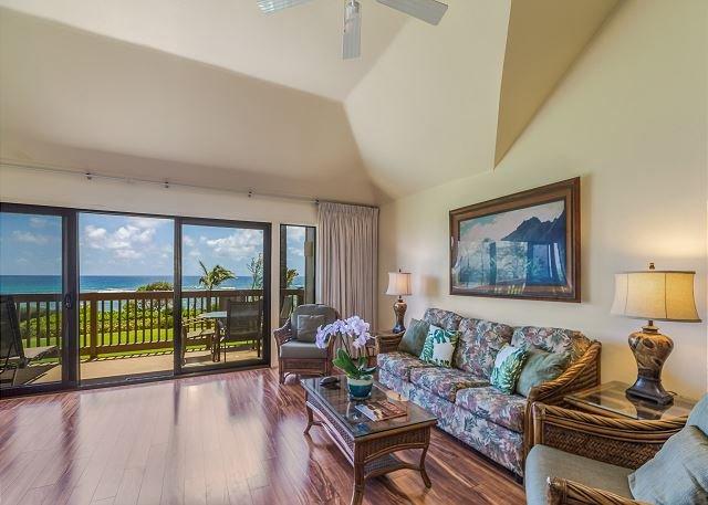 Oceanfront living area with sofa sleeper