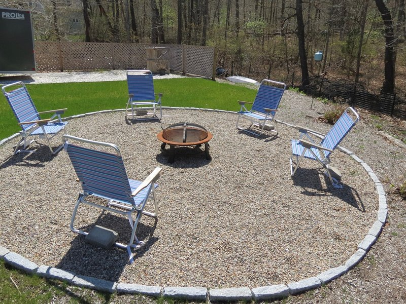 Fire pit in the back yard