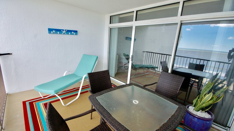 Ocean Front balcony with chaise and picnic table