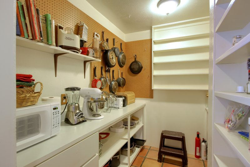 Kitchen has an old-fashioned butler's pantry