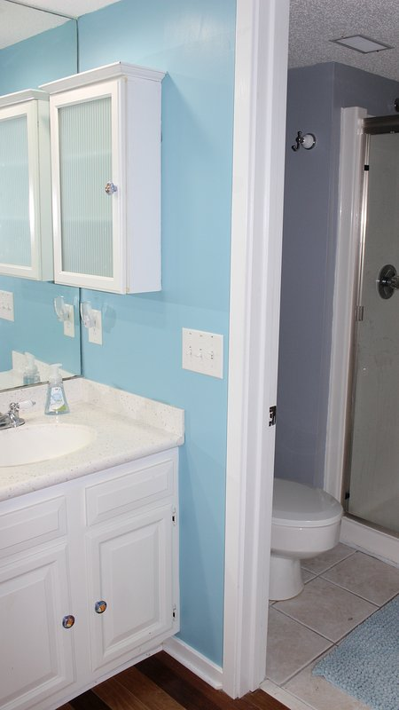 The shower and toilet are in a separate room. There is plenty of storage space for all of your supplies.