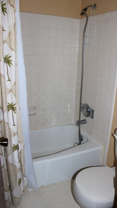 The shower/tub is in a separate room.