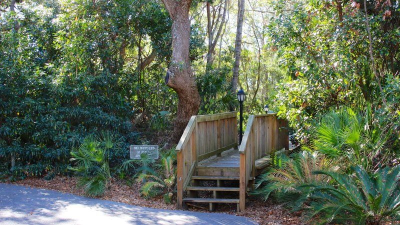 There is a quiet path that leads you to nearby Pelican Beach or the Beach Club area.