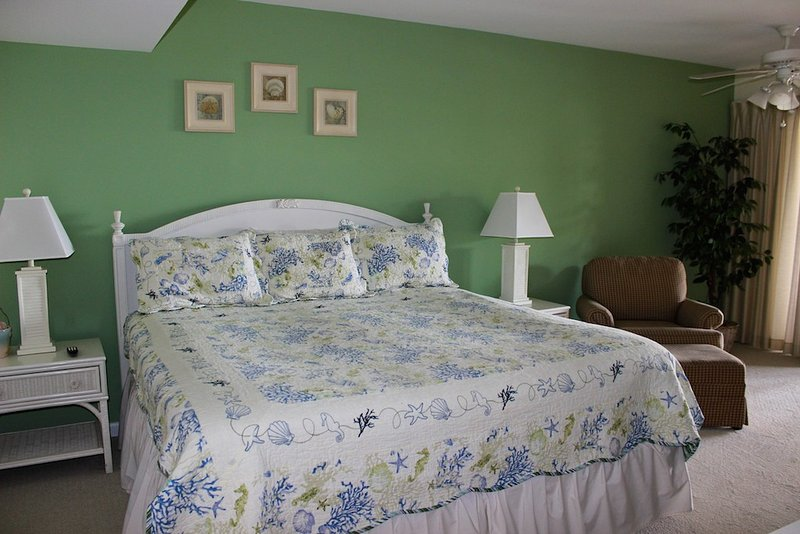 There are two bedrooms in this villa. The master bedroom has a king bed.