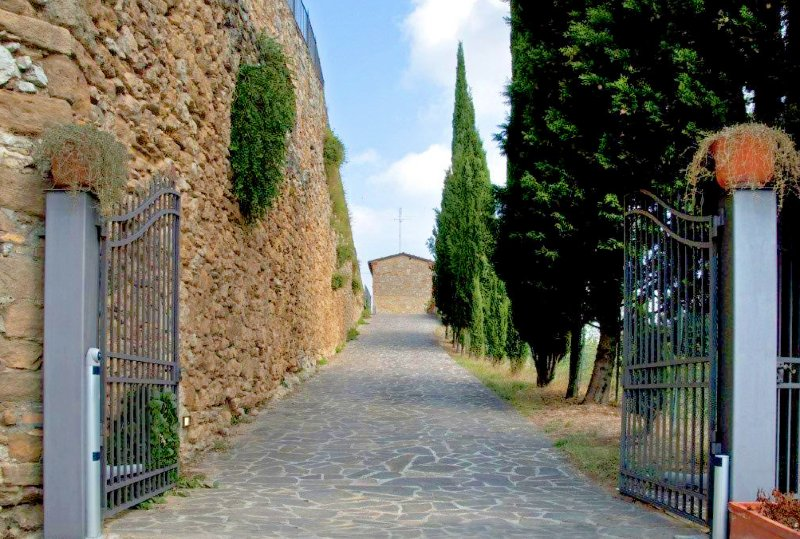The front driveway of the Villa with electric gates.