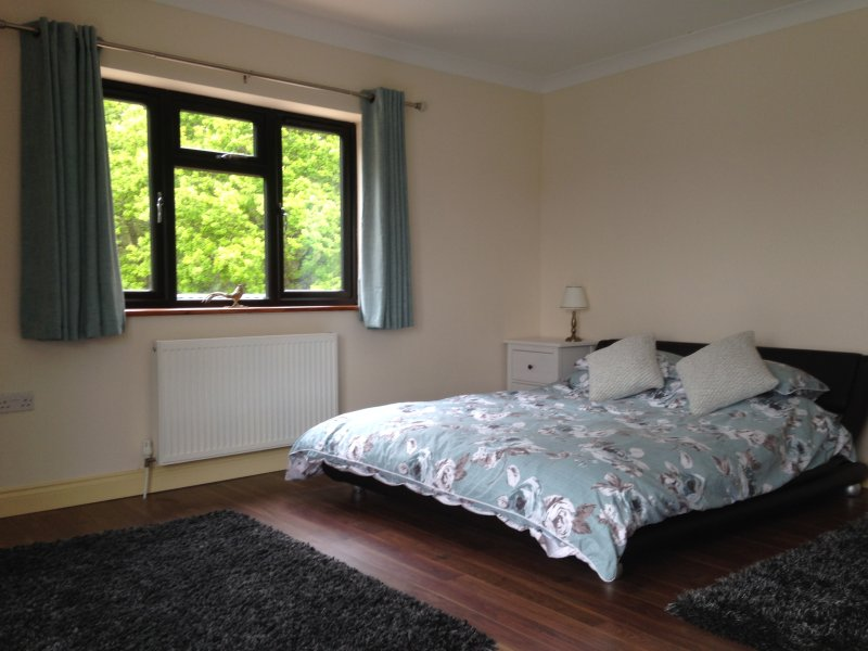 Kingsize slaapkamer met uitzicht op Wideham, met uitzicht op de zijkant in te Kings Forest.