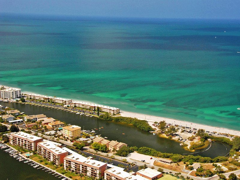 Aerial view of Fisherman's Cove at Turtle Beach on Siesta Key