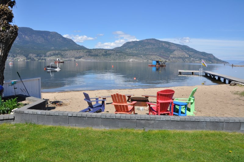 Private sandy beach with dock (shared with