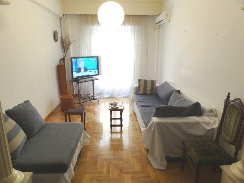85sqm convinient 1st floor apartment in quiet area, 10' walk to city center, holiday rental in Dafni