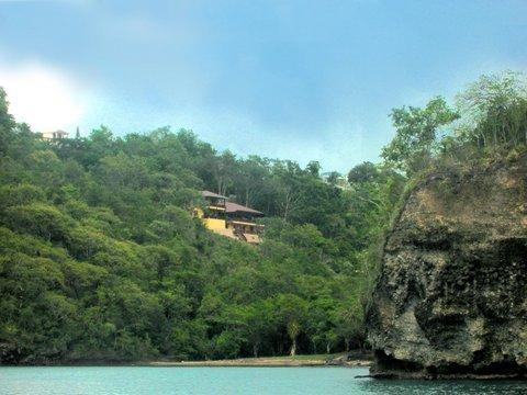 The villa seen from the ocean