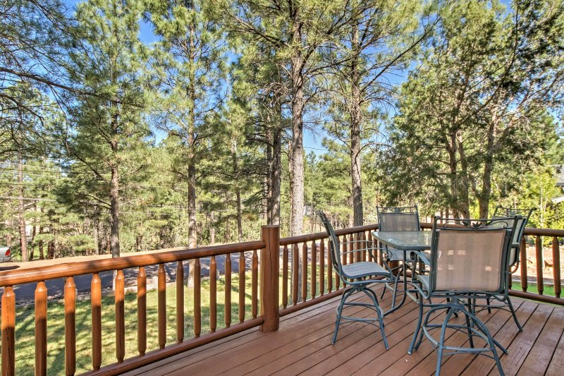Savor your homemade meals outside on the patio furniture and spacious wrap-around deck.