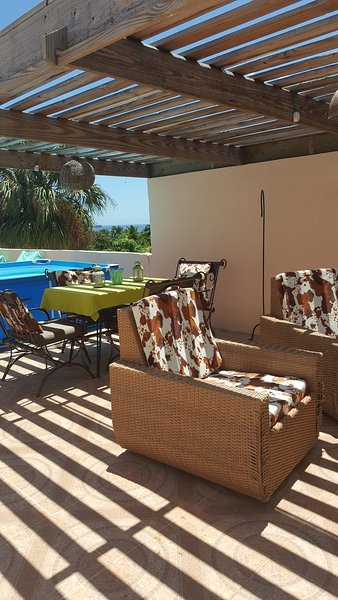 rooftop terrace with lounge furniture dining area and private pool